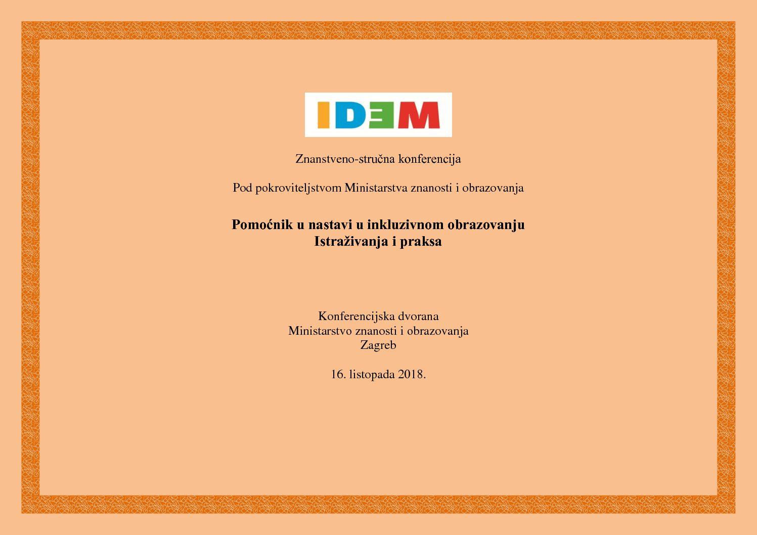 """Obavijest o konferenciji """"Pomoćnik u nastavi u inkluzivnom obrazovanju – istraživanja i praksa"""""""